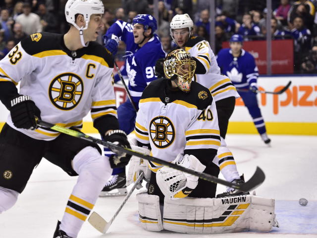 Boston Bruins goaltender Tuukka Rask (40) reacts to a goal by Toronto Maple Leafs right wing Mitchell Marner, not shown, during the second period of an NHL hockey game, Saturday, Jan. 12, 2019 in Toronto. (Frank Gunn/The Canadian Press via AP)