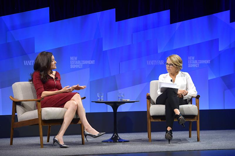 BEVERLY HILLS, CALIFORNIA - OCTOBER 22: (L-R) Sheryl Sandberg, COO of Facebook and Katie Couric speak onstage during 'Putting a Best Facebook Forward' at Vanity Fair's 6th Annual New Establishment Summit at Wallis Annenberg Center for the Performing Arts on October 22, 2019 in Beverly Hills, California. (Photo by Matt Winkelmeyer/Getty Images for Vanity Fair)