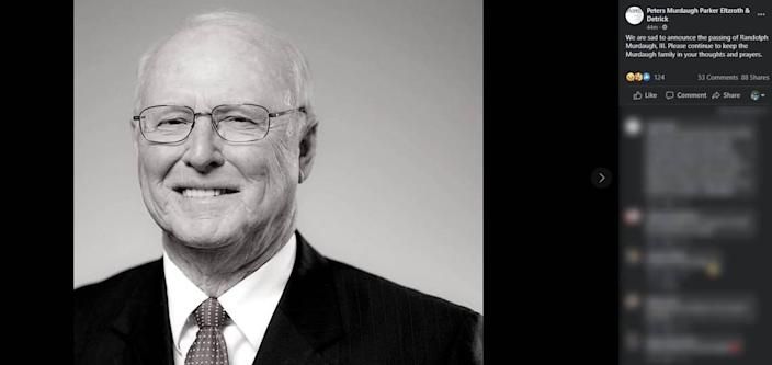A Facebook post from the Peters Murdaugh Parker Eltzroth & Detrick law firm based in Hampton, S.C., announces the death of attorney and former 14th Circuit Solicitor Randolph Murdaugh III on Thursday, June 10, 2021.