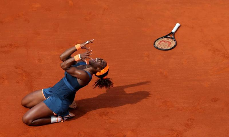 Serena Williams celebrates after winning the French Open in 2013.