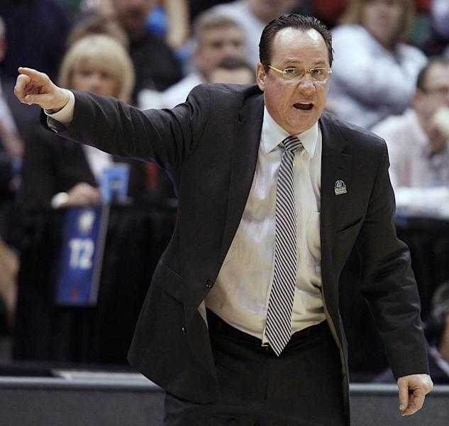 Wichita State head coach Gregg Marshall directs his team during a second-round game in the NCAA college basketball tournament against Pittsburgh in Salt Lake City, Thursday, March 21, 2013. (AP Photo/George Frey)