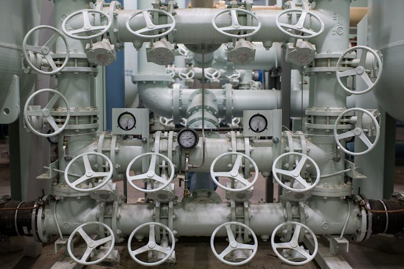 A number of handles control the flow of water from new carbon filtration tanks in Newburgh meant to protect the city's water supply from the chemical contaminant PFOS. (Mark Kauzlarich for HuffPost)