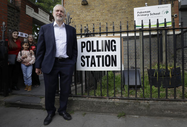 Jeremy Corbyn leader of Britain's opposition Labour Party after voting in the European Elections in London, Thursday, May 23, 2019. (AP Photo/Kirsty Wigglesworth)