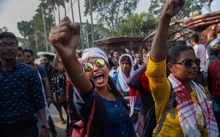 Protesters have taken to the streets across India over the last six days to oppose a new citizenship law which excludes Muslims - AP