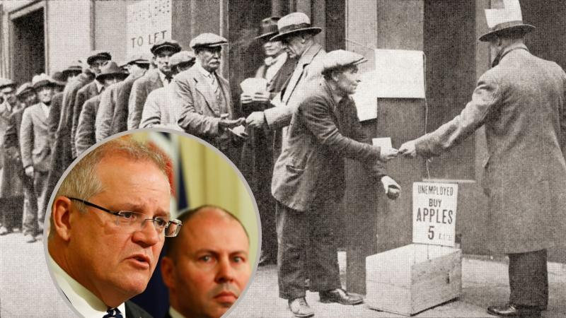 An unemployment queue during The Great Depression, with Scott Morrison and Josh Frydenberg in inset.