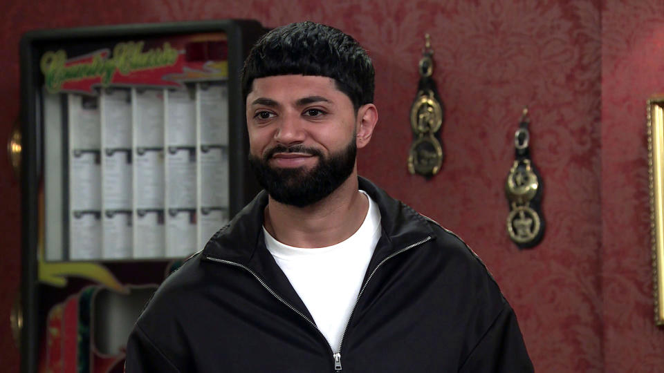 FROM ITV  STRICT EMBARGO - No Use Before Tuesday Tuesday 28th September 2021  Coronation Street - Ep 10446  Monday 4th October 2021 - 1st Ep  Zeedan Nazir [QASIM AHKTAR] forms a plan to have a promotional tasting night. But he makes the mistake of telling Debbie Webster [SUE DEVANEY] about it!   Picture contact David.crook@itv.com   This photograph is (C) ITV Plc and can only be reproduced for editorial purposes directly in connection with the programme or event mentioned above, or ITV plc. Once made available by ITV plc Picture Desk, this photograph can be reproduced once only up until the transmission [TX] date and no reproduction fee will be charged. Any subsequent usage may incur a fee. This photograph must not be manipulated [excluding basic cropping] in a manner which alters the visual appearance of the person photographed deemed detrimental or inappropriate by ITV plc Picture Desk. This photograph must not be syndicated to any other company, publication or website, or permanently archived, without the express written permission of ITV Picture Desk. Full Terms and conditions are available on  www.itv.com/presscentre/itvpictures/terms