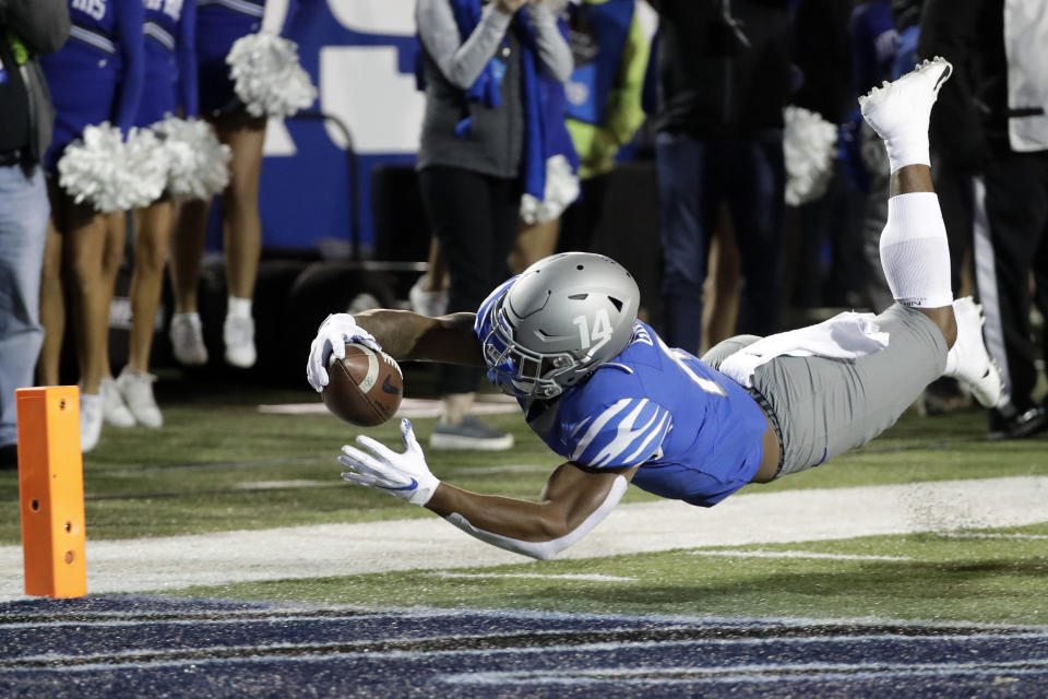 Memphis wide receiver Antonio Gibson dives for the end zone against SMU in the first half of an NCAA college football game Saturday, Nov. 2, 2019, in Memphis, Tenn. Gibson was ruled down just short of the goal line. (AP Photo/Mark Humphrey)