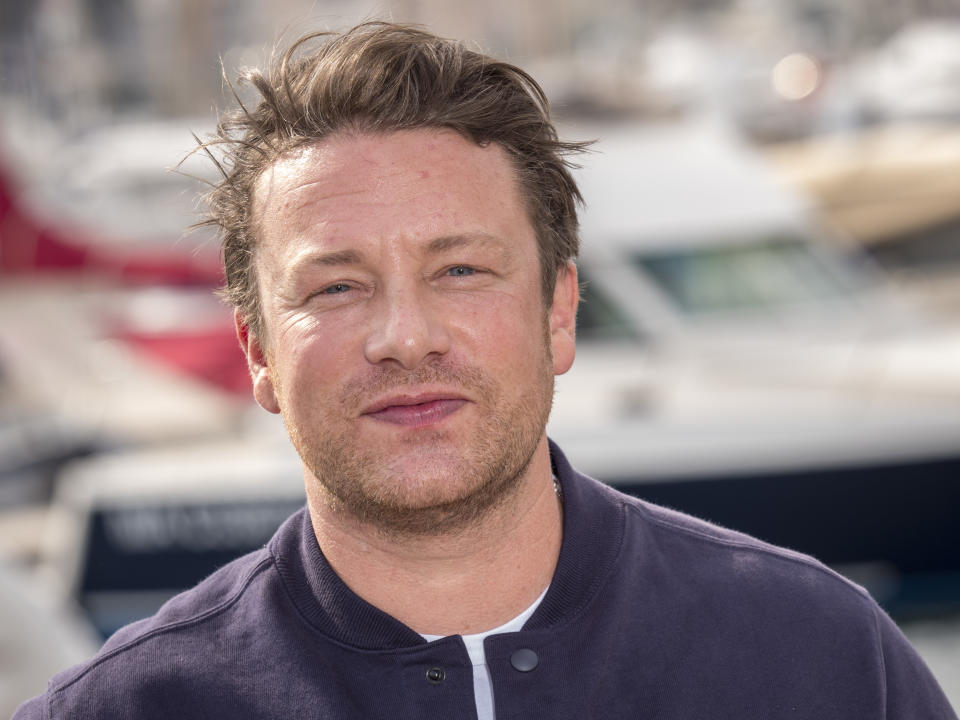 CANNES, FRANCE - OCTOBER 15: Jamie Oliver attend the Jamie Olivier photocall as part of the MIPCOM 2018 on October 15, 2018 in Cannes, France.  (Photo by Arnold Jerocki/Getty Images)