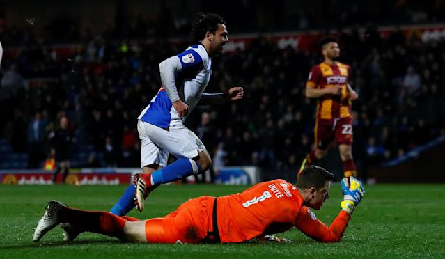 """Soccer Football - League One - Blackburn Rovers vs Bradford City - Ewood Park, Blackburn, Britain - March 29, 2018 Blackburn Rovers Bradley Dack celebrates scoring his sides first goal Action Images/Jason Cairnduff EDITORIAL USE ONLY. No use with unauthorized audio, video, data, fixture lists, club/league logos or """"live"""" services. Online in-match use limited to 75 images, no video emulation. No use in betting, games or single club/league/player publications. Please contact your account representative for further details."""