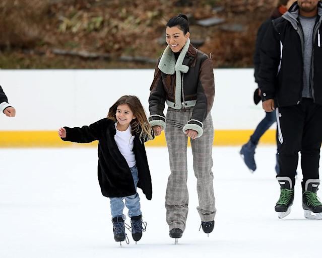 <p>The eldest Kardashian sister took daughter Penelope for a spin on the ice in New York's Central Park on Sunday. (Photo: Pierre Suu/GC Images) </p>