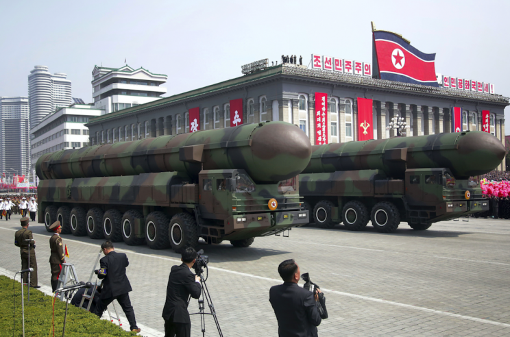 North Korea showed off its military might with a display of missiles at a parade (Rex)
