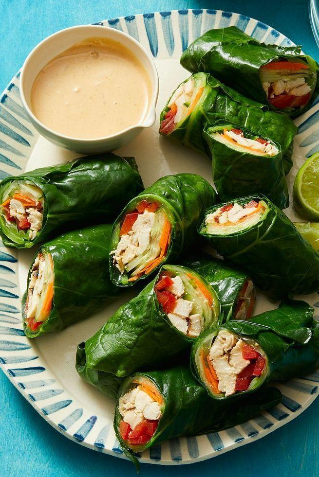 """<p>Replace your go-to flour tortilla with Swiss chard for a lighter meal. The leafy green is sturdy enough to act as a wrap without falling apart when you dip it in the homemade honey-ginger peanut sauce.</p><p><em><a href=""""https://www.womansday.com/food-recipes/a32293196/thai-style-peanut-chicken-wraps-recipe/"""" rel=""""nofollow noopener"""" target=""""_blank"""" data-ylk=""""slk:Get the Thai-Style Peanut Chicken Wraps recipe."""" class=""""link rapid-noclick-resp"""">Get the Thai-Style Peanut Chicken Wraps recipe.</a></em></p>"""