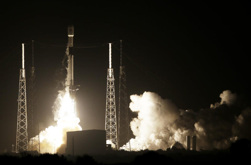 A SpaceX Falcon 9 rocket lifts off with Israel's Lunar Lander and an Indonesian communications satellite at space launch complex 40 Thursday Feb. 21 2019 in Cape Canaveral Fla. An Israeli spacecraft blasted off to the moon in an attempt to make
