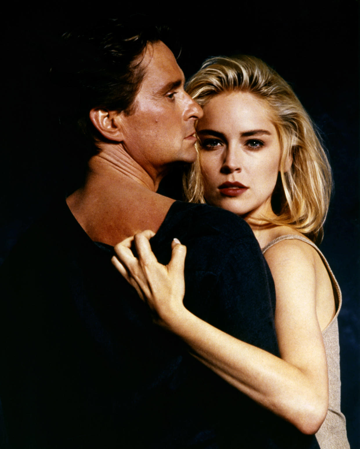 American actors Michael Douglas and Sharon Stone on the set of Basic Instinct directed by Dutch Paul Verhoeven. (Photo by Sunset Boulevard/Corbis via Getty Images)
