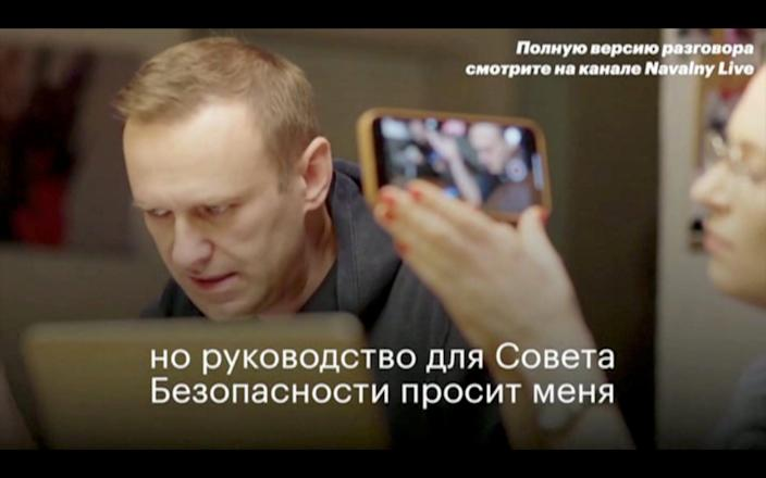 The YouTube video showing Alexei Navalny speaking to an alleged FSB agent became an instant online sensation - Navalny.com via Reuters/Navalny.com via Reuters