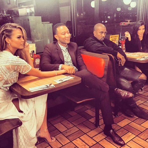 """<p>Known foodie Chrissy Teigen doesn't love just gourmet food. She and hubby John Legend capped off a 2015 double date night with none other than Kim Kardashian and Kanye West with a trip to the greasy spoon. """"Every house should be a waffle house,"""" Chrissy captioned an Instagram pic of her very first time dining at the iconic restaurant chain. Think Kim actually ate something? (Photo: Instagram) </p>"""