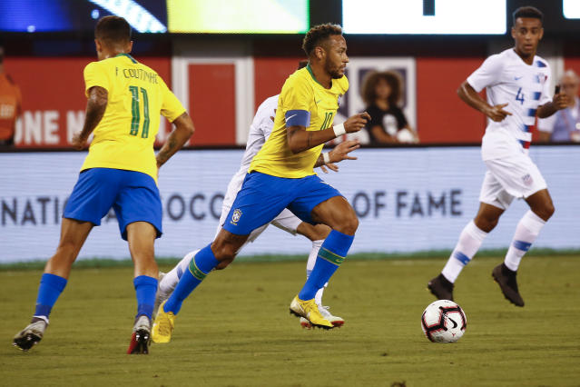 "<a class=""link rapid-noclick-resp"" href=""/olympics/rio-2016/a/1215128/"" data-ylk=""slk:Neymar"">Neymar</a> scored Brazil's second goal in a friendly against the United States at MetLife Stadium in New Jersey. (Getty)"