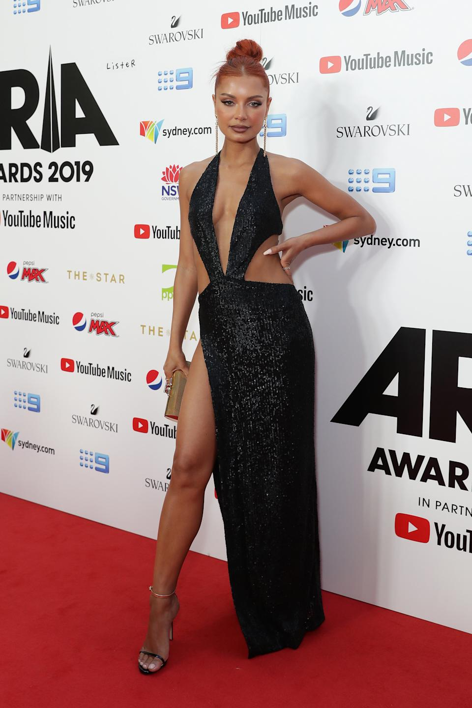 DJ Havana Brown worked a cut-out gown at the ARIA Awards 2019. Photo: Getty Images