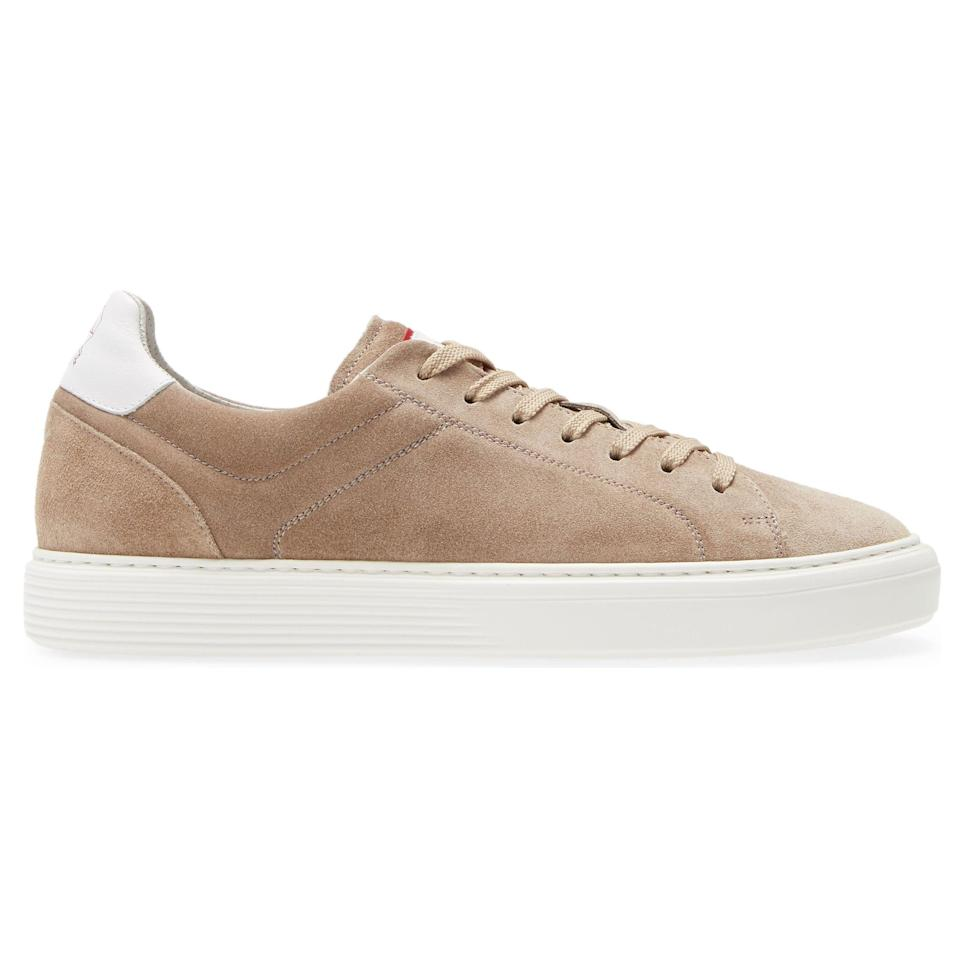 """<p><strong>Airsole Sneakers</strong></p><p>nordstrom.com</p><p><strong>$745.00</strong></p><p><a href=""""https://go.redirectingat.com?id=74968X1596630&url=https%3A%2F%2Fwww.nordstrom.com%2Fs%2Fbrunello-cucinelli-airsole-sneaker-men%2F5794267&sref=https%3A%2F%2Fwww.esquire.com%2Fstyle%2Fmens-accessories%2Fadvice%2Fg2538%2Fluxury-sneaker-brands-worth-spending-money%2F"""" rel=""""nofollow noopener"""" target=""""_blank"""" data-ylk=""""slk:Shop Now"""" class=""""link rapid-noclick-resp"""">Shop Now</a></p><p>The king of soft suiting and cozy cashmere brings that same appreciation for the finer things in life—plus his signature palette of navy, gray, and a veritable smorgasbord of shades of beige—to sneakers, too. They're made in Italy (naturally), light as air, and lined with perforated leather to keep your feet as happy as the rest of you is (at least when you're wearing Cucinelli).</p>"""