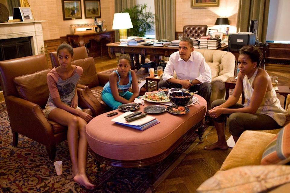 <p>Everyone gets World Cup fever, and the Obama family is no exception. President Obama and First Lady Michelle along with their daughters Sasha and Malia caught the U.S. vs. Japan game in the Treaty Room of the White House residence in 2011.</p>