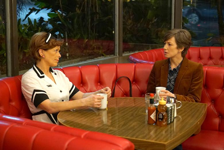 """FARGO -- """"The Law of Non‐ Contradiction"""" – Year 3, Episode 3 (Airs May 3, 10:00 pm e/p) Pictured (l-r): Frances Fisher as Vivian Lord (60 Years), Carrie Coon as Gloria Burgle. CR: Byron Cohen/FX"""