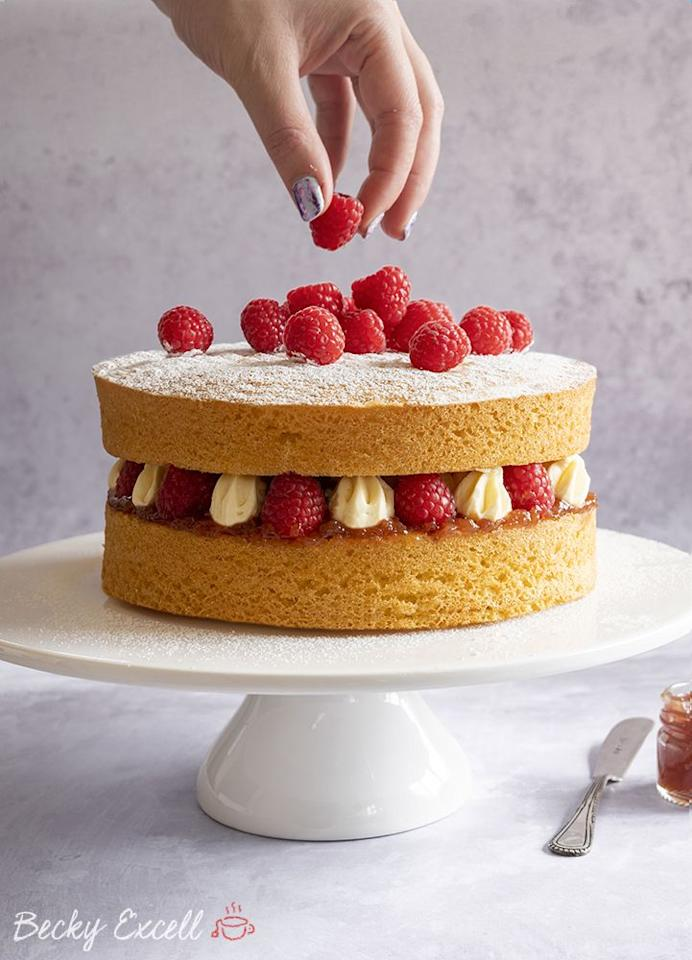 "<p>A classic Victoria sponge perfected to suit those of you who are gluten intolerant! Lovely stuff. </p><p>Get the <a href=""https://glutenfreecuppatea.co.uk/2019/05/24/gluten-free-victoria-sponge-cake-recipe-dairy-free/"" target=""_blank"">Gluten Free Victoria Sponge Cake</a> recipe. </p><p>Recipe from <a href=""https://glutenfreecuppatea.co.uk/"" target=""_blank"">Gluten Free Cuppa Tea</a>.</p>"