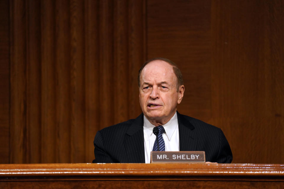 Sen. Richard Shelby, R-Ala., speaks during the Senate's Committee on Banking, Housing, and Urban Affairs hearing examining the quarterly CARES Act report to Congress on Capitol Hill, Wednesday, Sept. 24, 2020, in Washington. (Toni L. Sandys/The Washington Post via AP, Pool)