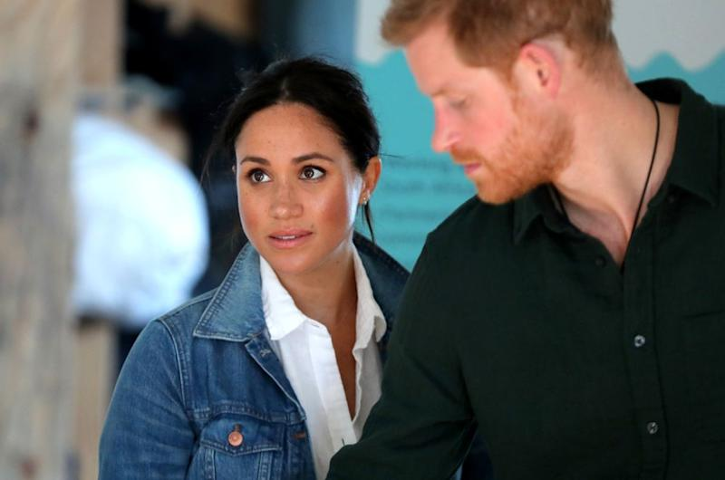 The Duke and Duchess of Sussex visit Waves for Change, an NGO, at Monwabisi Beach on September 24, 2019, in Cape Town, South Africa.