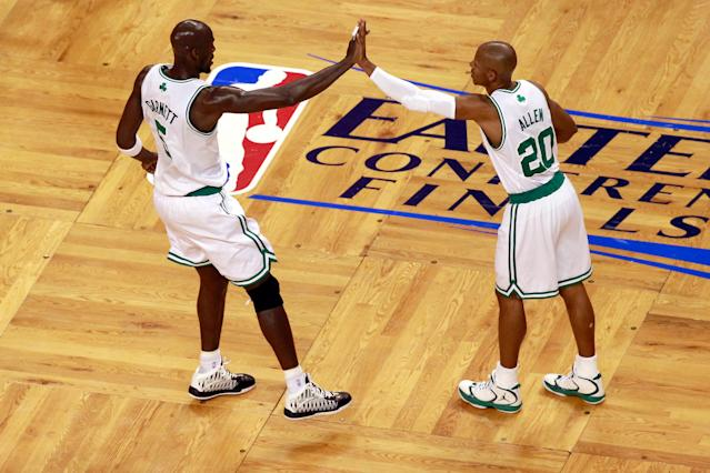 BOSTON, MA - JUNE 03: Kevin Garnett #5 and Ray Allen #20 of the Boston Celtics react in the first quarter against the Miami Heat in Game Four of the Eastern Conference Finals in the 2012 NBA Playoffs on June 3, 2012 at TD Garden in Boston, Massachusetts. NOTE TO USER: User expressly acknowledges and agrees that, by downloading and or using this photograph, User is consenting to the terms and conditions of the Getty Images License Agreement. (Photo by Jared Wickerham/Getty Images)