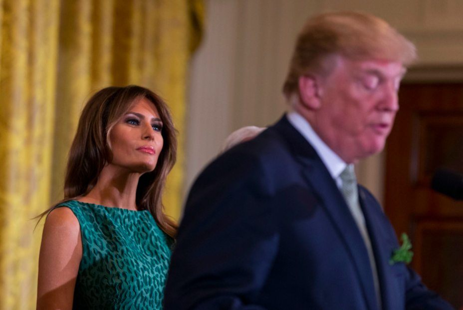 <em>Melania Trump had only recently given birth to their son at the time of the alleged affair (Rex)</em>