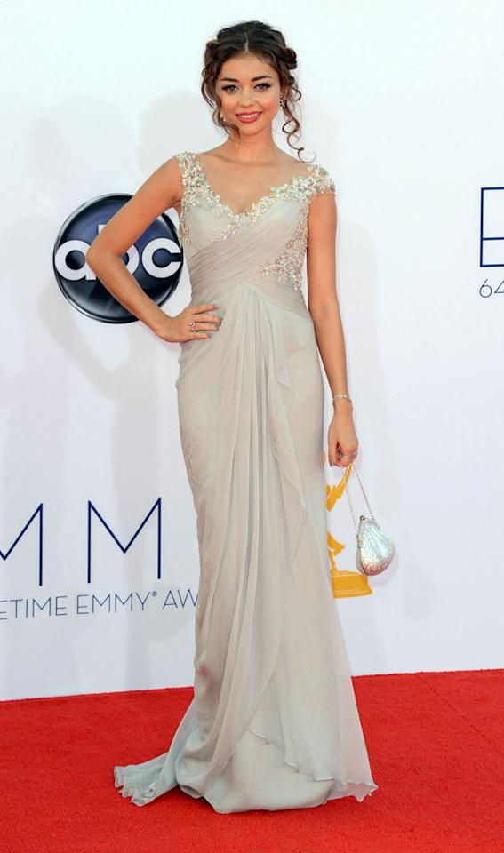 Sarah Hyland arrives at the 64th Primetime Emmy Awards at the Nokia Theatre in Los Angeles on September 23, 2012.