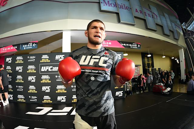 Khabib Nurmagomedov, shown working out in March, is the greatest lightweight in MMA history, his coach, Javier Mendez, said Thursday. Nurmagomedov fights Edson Barboza on Saturday at UFC 219 in Las Vegas. (Getty Images)