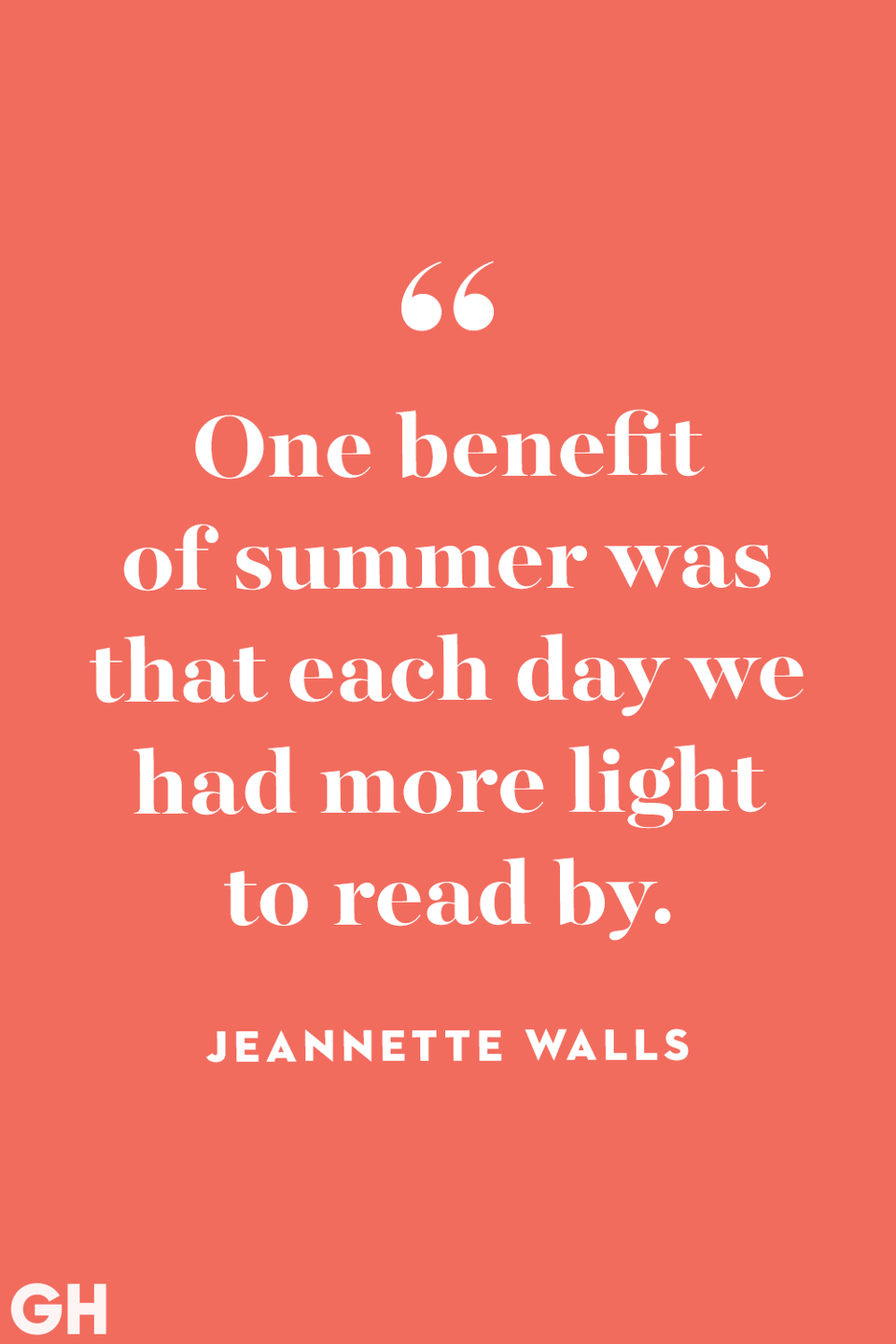<p>One benefit of summer was that each day we had more light to read by.</p>