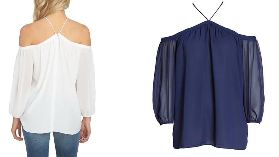 This Off the Shoulder Sheer Chiffon Blouse is available at Nordstrom for 40 % off. $47 (originally $79)