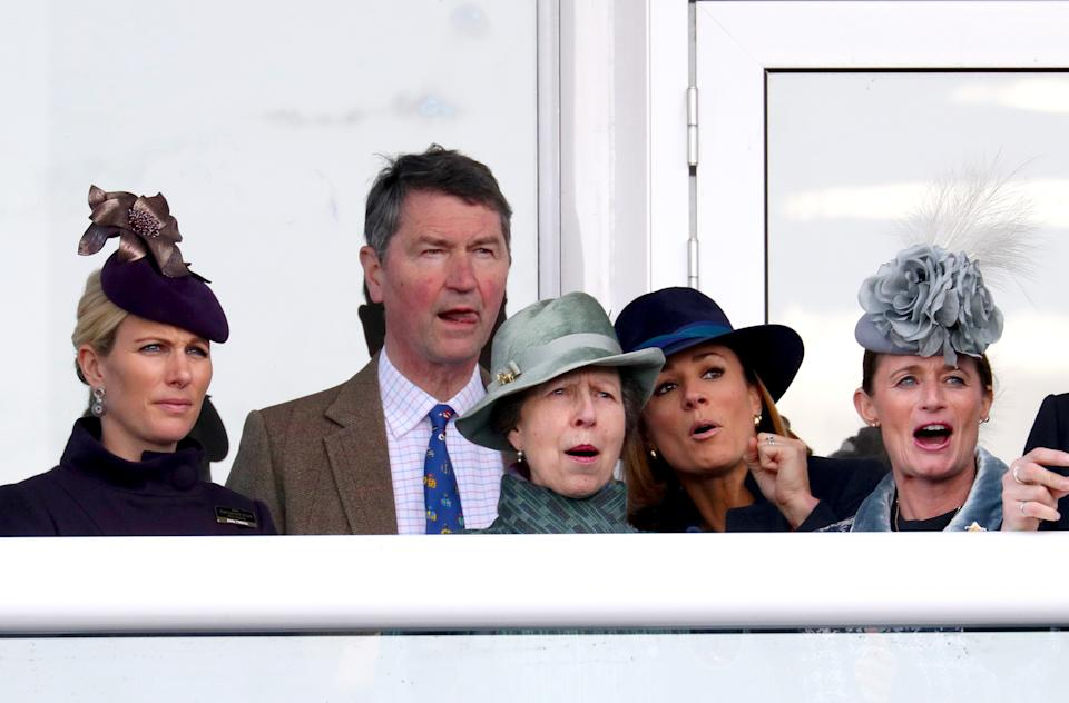 (left to right) Zara Tindall, Timothy Laurence, Princess Royal, Natalie Pinkham and Dolly Maude during day four of the Cheltenham Festival at Cheltenham Racecourse. (Photo by Andrew Matthews/PA Images via Getty Images)