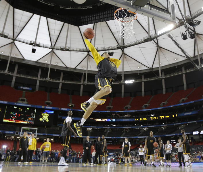 Wichita State's Fred Van Vleet works during practice for their NCAA Final Four tournament college basketball semifinal game against Louisville, Friday, April 5, 2013, in Atlanta. Wichita State plays Louisville in a semifinal game on Saturday. (AP Photo/David J. Phillip)