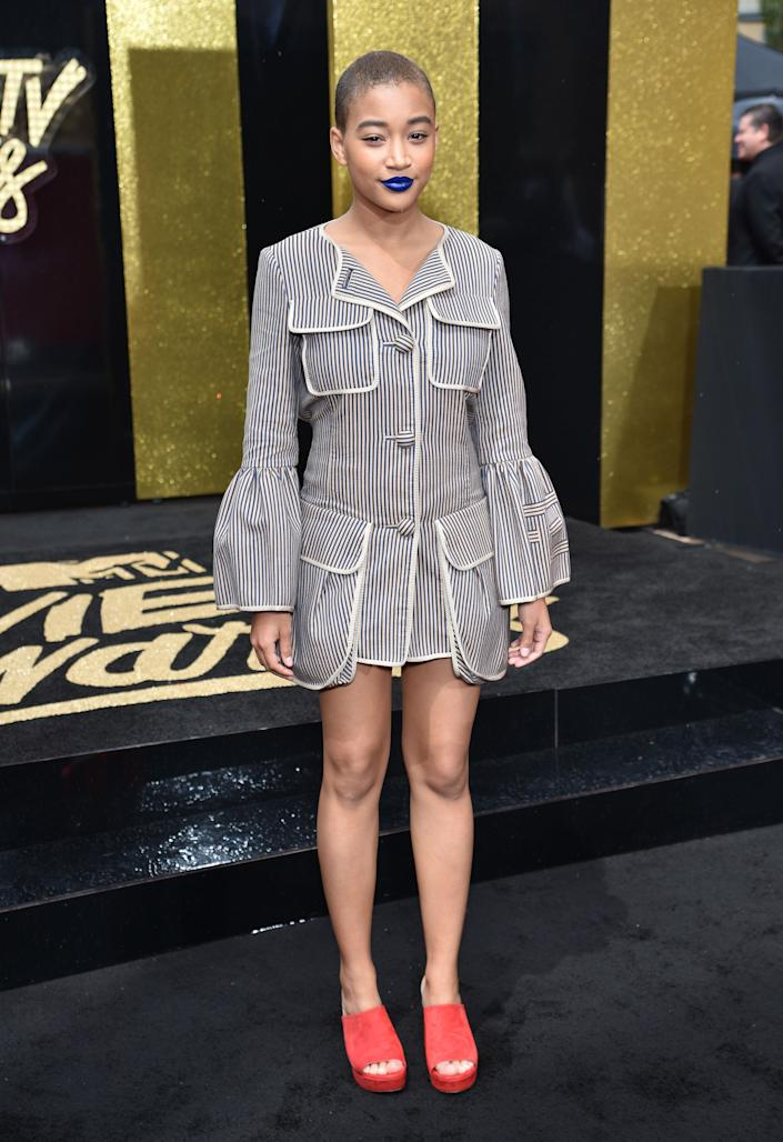 Actor Amandla Stenberg attends the 2017 MTV Movie And TV Awards at The Shrine Auditorium on May 7, 2017 in Los Angeles, California.