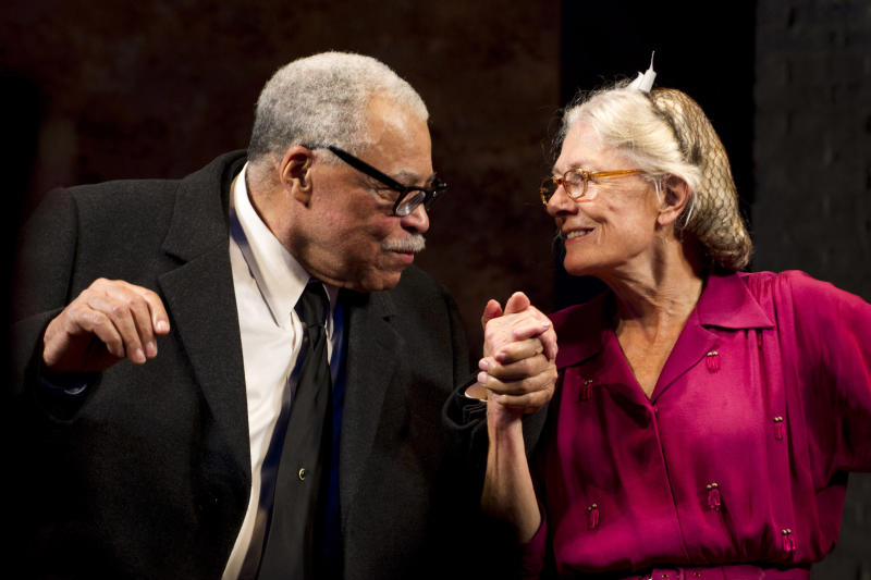 "FILE - In this Oct. 25, 2010 file photo, James Earl Jones, left, and Vanessa Redgrave appear at the curtain call for the opening night of ""Driving Miss Daisy"" on Broadway in New York.  Vanessa Redgrave and James Earl Jones are reuniting onstage to play lovers Beatrice and Benedick in Shakespeare's comedy ""Much Ado About Nothing"" at London's Old Vic Theatre. The actors, who starred together in ""Driving Miss Daisy"" in the West End and on Broadway, will be directed by Mark Rylance in a production opening in September 2013.  (AP Photo/Charles Sykes, File)"