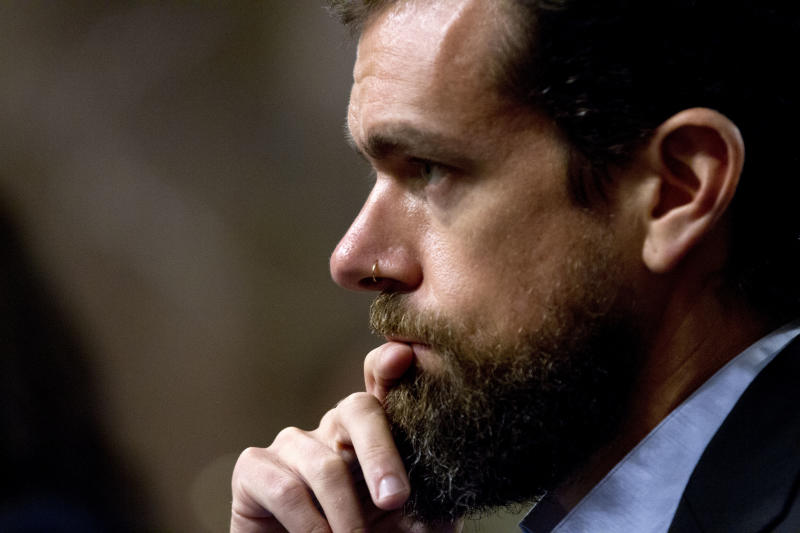 Twitter CEO Jack Dorsey testifies before the Senate Intelligence Committee hearing on 'Foreign Influence Operations and Their Use of Social Media Platforms' on Capitol Hill, Wednesday, Sept. 5, 2018, in Washington. (AP Photo/Jose Luis Magana)