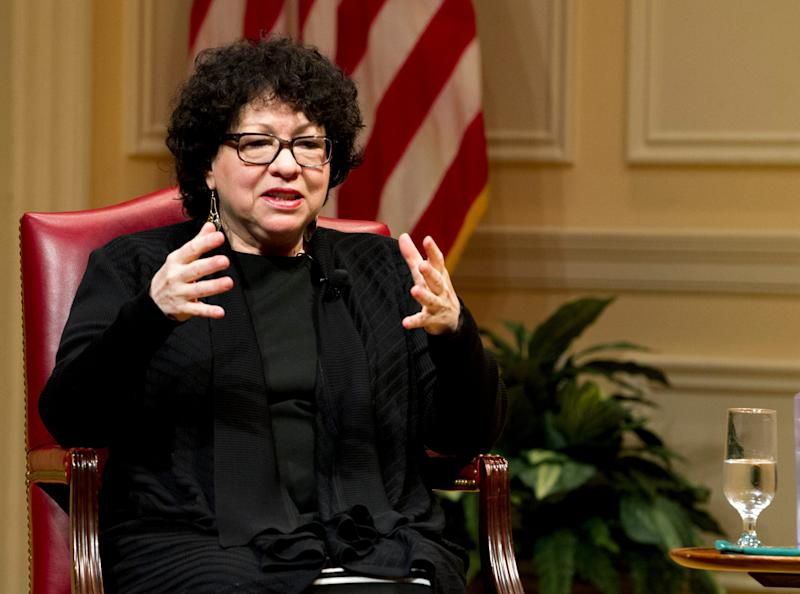 Supreme Court Justice Sonia Sotomayor speaks during the 2019 Supreme Court Fellows Program annual lecture at the Library of Congress, in Washington Thursday, Feb. 14, 2019. (AP Photo/Jose Luis Magana) ORG XMIT: DCJL128 [Via MerlinFTP Drop]
