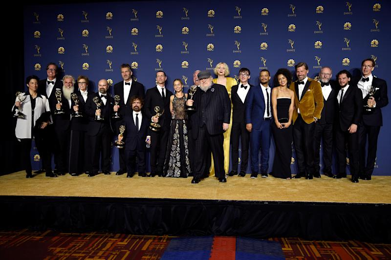LOS ANGELES, CA - SEPTEMBER 17: 70th ANNUAL PRIMETIME EMMY AWARDS -- Pictured: Cast and crew of Game of Thrones pose with their Outstanding Drama Series awards during the 70th Annual Primetime Emmy Awards held at the Microsoft Theater on September 17, 2018. NUP_184223 (Photo by Kevork Djansezian/NBC/NBCU Photo Bank via Getty Images)