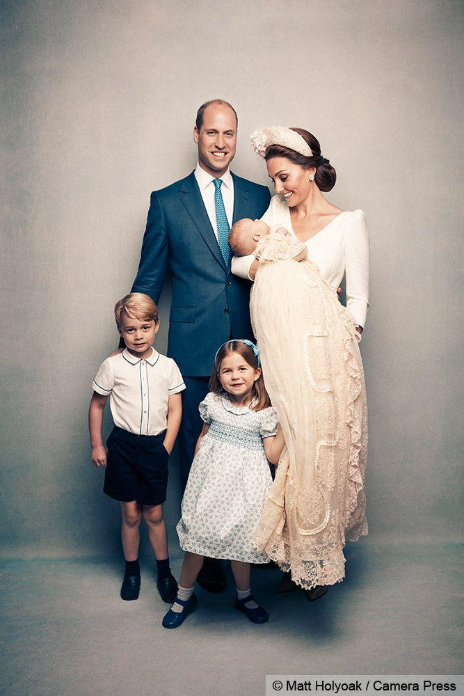 <p>The new family of five on the day of the christening.</p>
