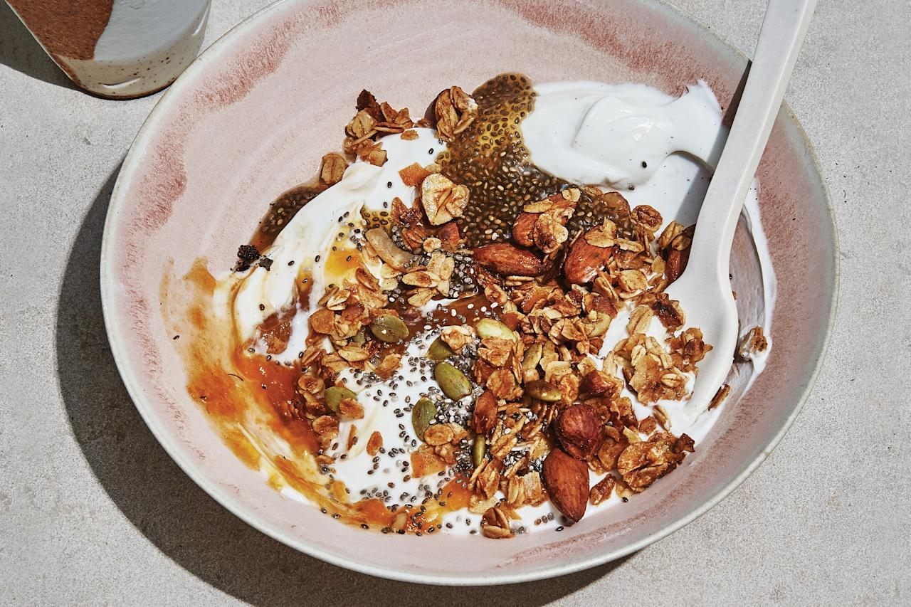 """This honey-sweetened granola and rooibos-tea chia pudding are both worth making and enjoying on their own, but together with yogurt and a swirl of jam they become a breakfast you'll want to eat on repeat. <a href=""""https://www.epicurious.com/recipes/food/views/hazelnut-granola-and-chia-pudding-bowls?mbid=synd_yahoo_rss"""">See recipe.</a>"""