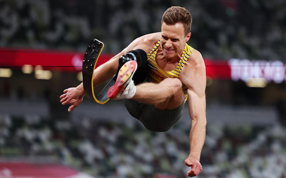 Markus Rehm competing in the T64 long jump final - REUTERS