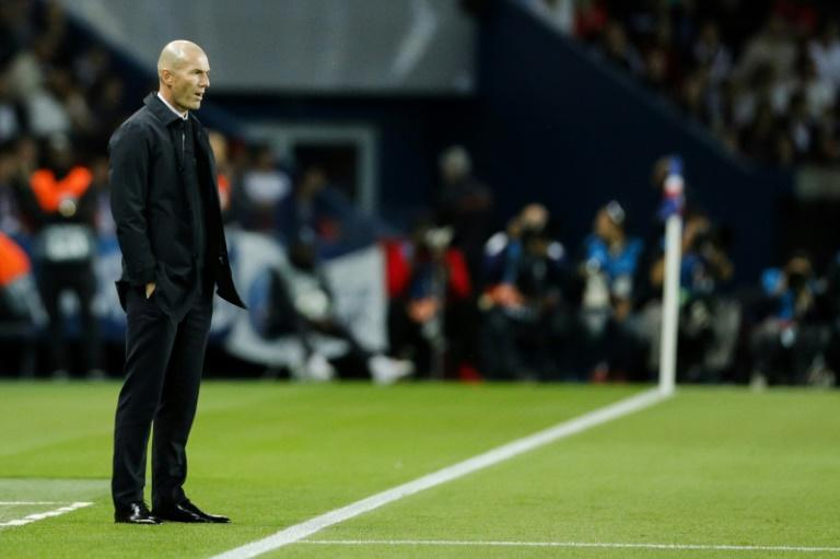 Zinedine Zidane in sombre mood on the Real Madrid touchline