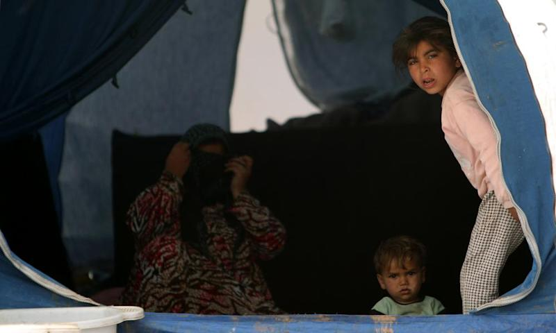Displaced Syrian children from Raqqa, in a camp in Manbij.
