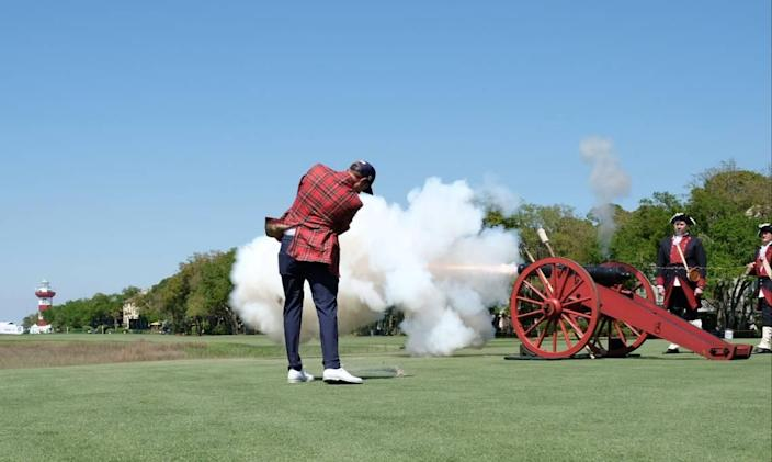 Defending 2020 RBC Heritage Presented by Boeing champion Webb Simpson drives a ceremonial shot into Calibogue Sound on Tuesday, April 13, 2021, from the tee box at the 18th hole at Harbour Town Golf Links in Sea Pines on Hilton Head Island.