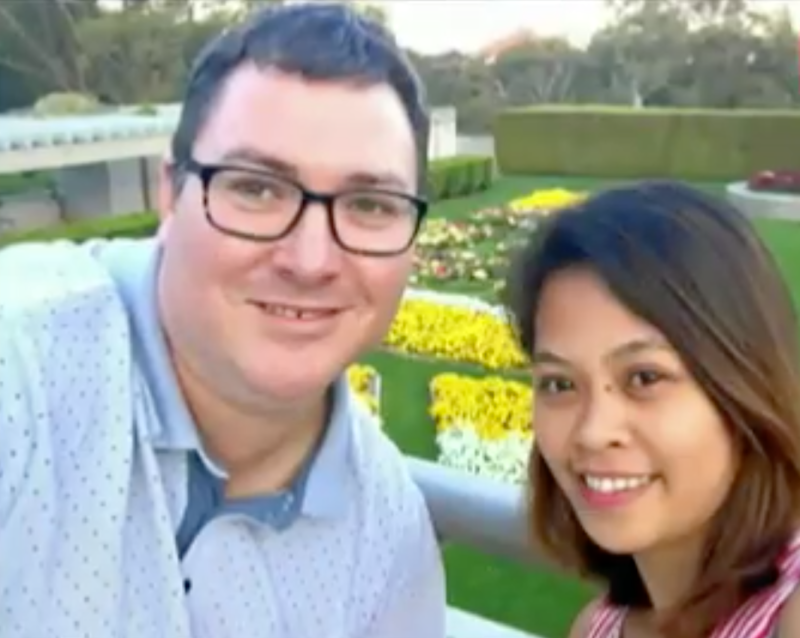 Nationals MP George Christensen with wife April Asuncion.
