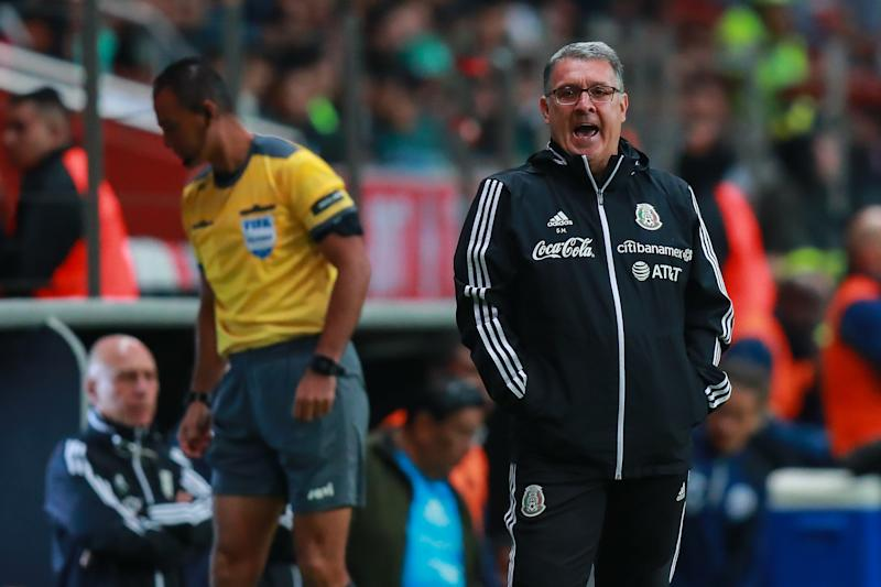 TOLUCA, MEXICO - NOVEMBER 19: Gerardo Martino coach of Mexico give instructions during the match between Mexico and Bermuda as part of the Concacaf Nation League at Nemesio Diez Stadium on November 19, 2019 in Toluca, Mexico. (Photo by Manuel Velasquez/Getty Images)