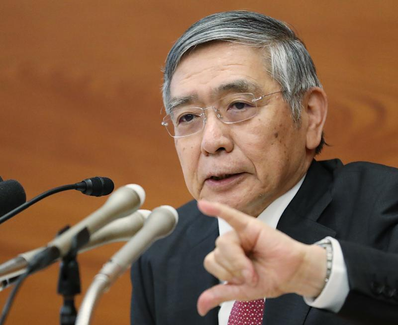 Bank of Japan Governor Haruhiko Kuroda speaks during a press conference in Tokyo on September 19, 2019. - The Bank of Japan on September 19 warned of increasing downside risks for the global economy but held off on further easing, even as European and US peers loosen their credit grip. (Photo by STR / JIJI PRESS / AFP) / Japan OUT (Photo credit should read STR/AFP/Getty Images)